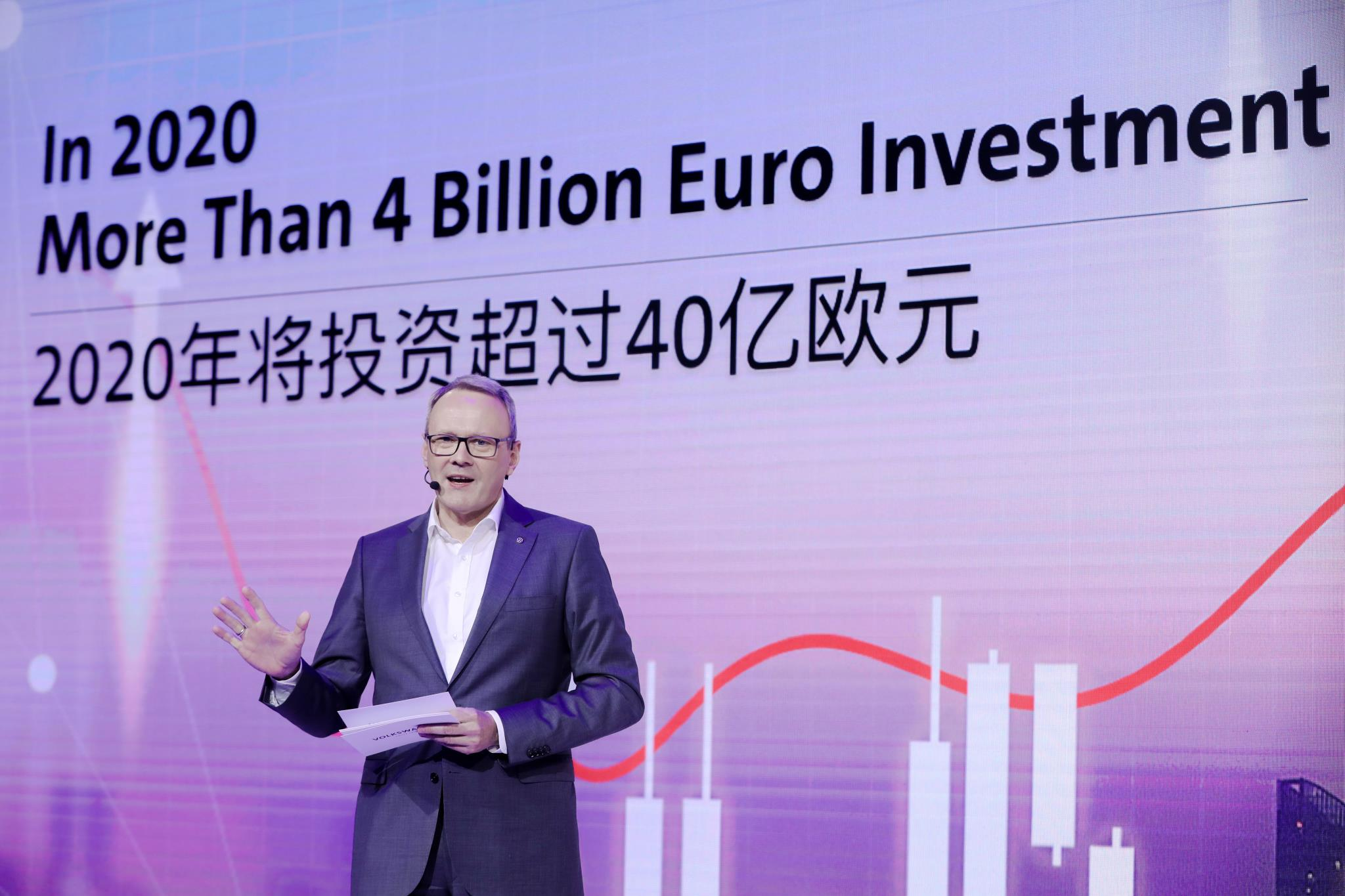 VOLKSWAGEN GROUP CHINA TO INVEST OVER 4 BILLION EURO IN 2020