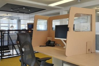 Sustainable and cost-effective cardboard 3-way desk shield launches for first time in UK
